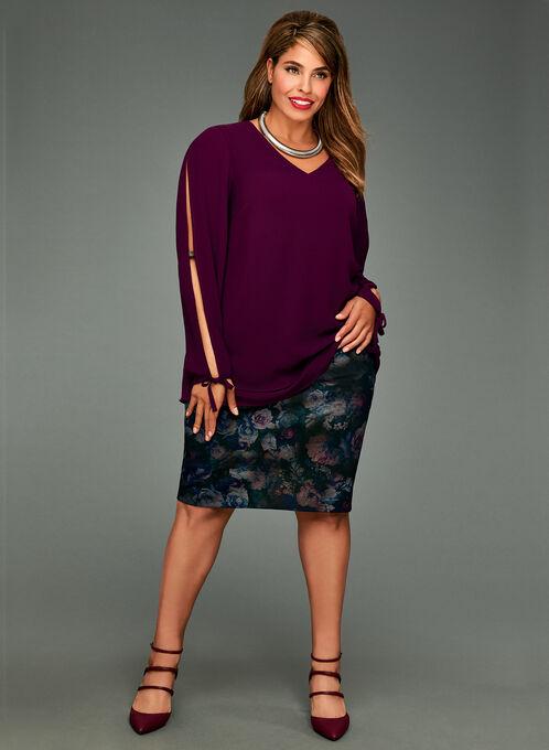 Long Sleeve Crepe Blouse, Purple, hi-res