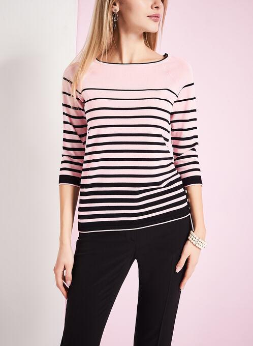 3/4 Sleeve Stripe Print Sweater, Black, hi-res