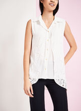 Vex Button Front Perforated Blouse, , hi-res