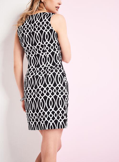 Sleeveless Scroll Print Sheath Dress, Black, hi-res