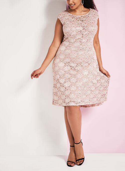 Sequin Lace High-Low Dress, Pink, hi-res