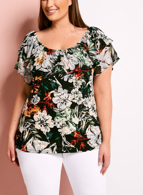 Ruffle Floral Print Off The Shoulder Blouse, Multi, hi-res