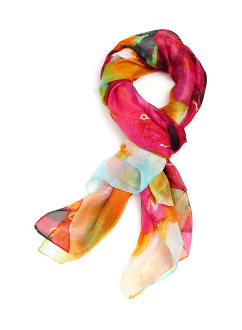 Abstract Print Scarf, Pink, hi-res