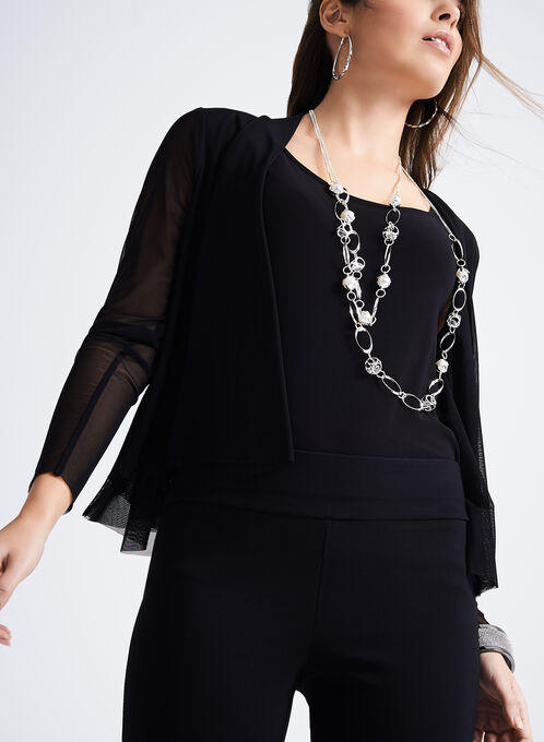 Double Layer Mesh Cardigan, Black, hi-res