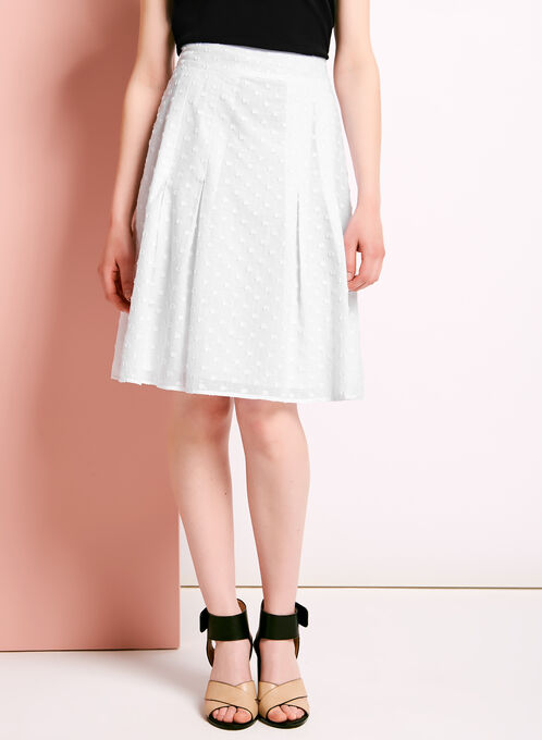 Pleated Reverse Fil-Coupé Skirt, White, hi-res