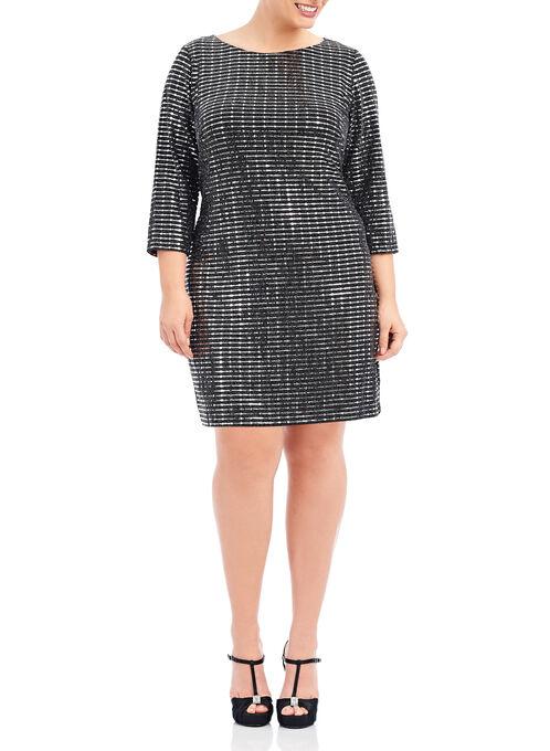 3/4 Sleeve Metallic Dress, Black, hi-res