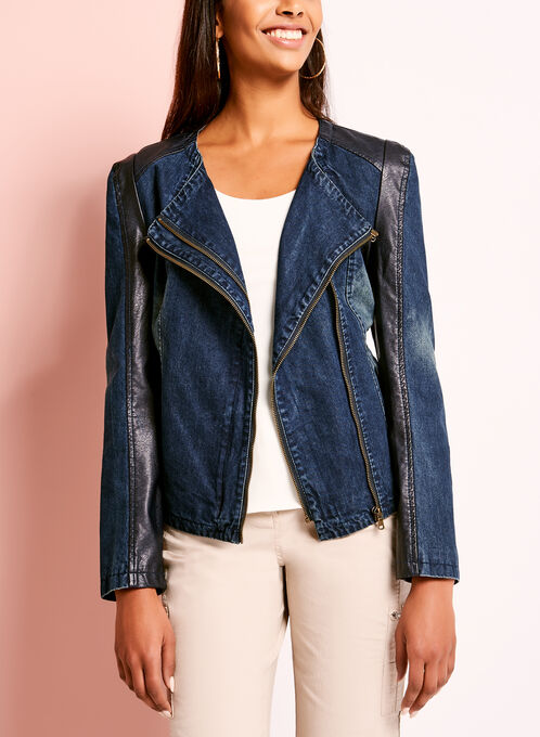 Denim & Faux Leather Jacket, Blue, hi-res