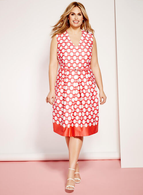 Dot Print Belted Sateen Dress, Orange, hi-res
