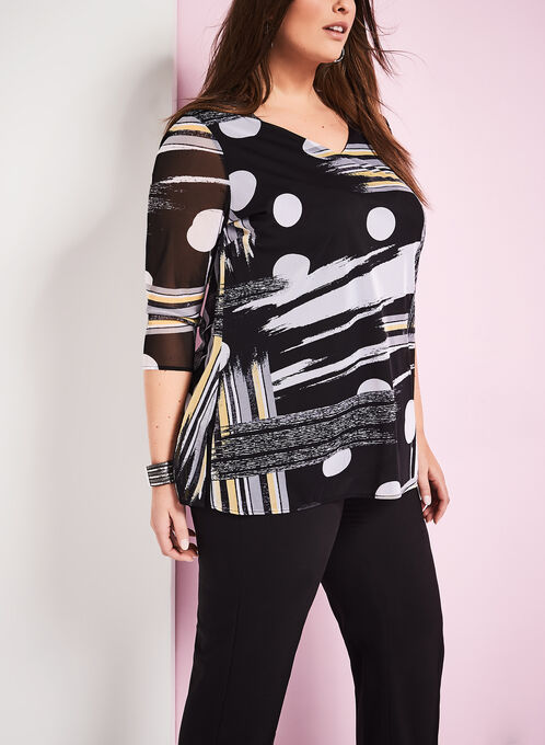 Geometric Print Mesh Tunic Top, Black, hi-res