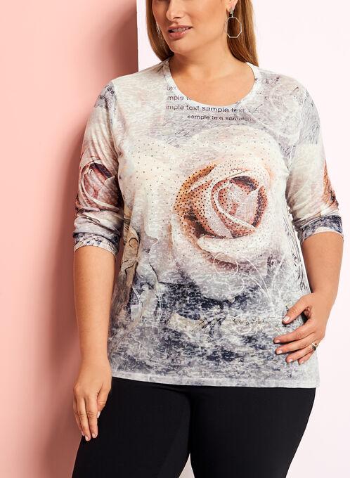 3/4 Sleeve Embellished Rose Tee, Grey, hi-res