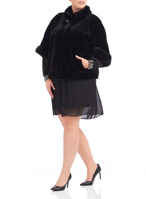 Novelti Jewelled Faux Fur Jacket, Black, hi-res
