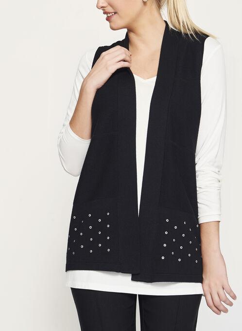 Sleeveless Jersey Knit Cardigan, Black, hi-res