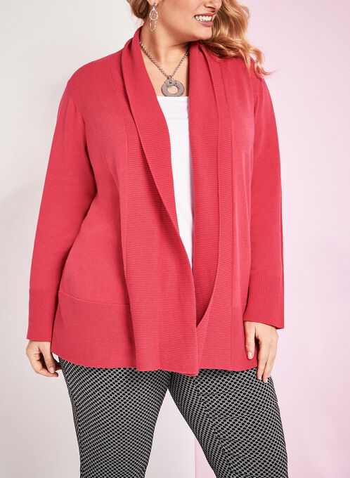 Knit Shawl Collar Cardigan, Red, hi-res