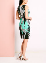 Sleeveless Floral Print Sheath Dress, Blue, hi-res