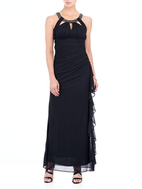 Sleeveless Beaded Cleo Neck Gown , Black, hi-res
