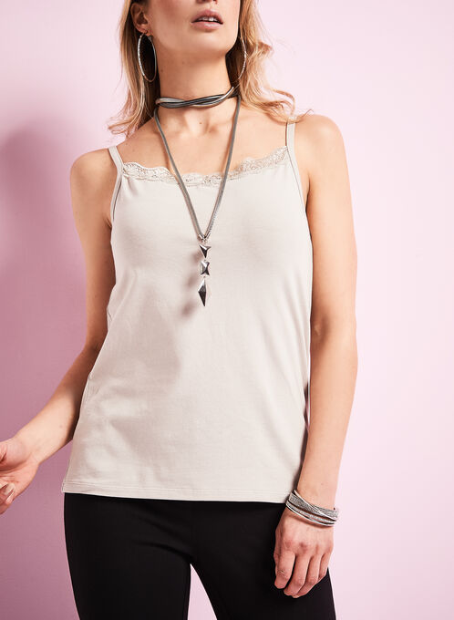 Lace Trim Cotton Cami, Grey, hi-res