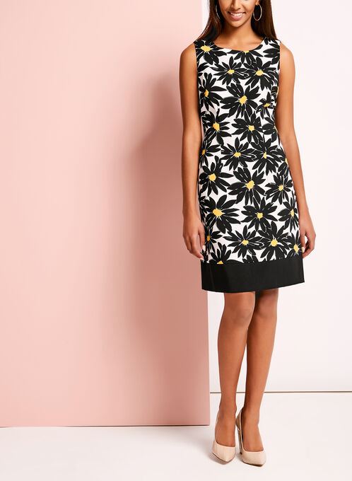 Daisy Print Sleeveless Shift Dress, Black, hi-res