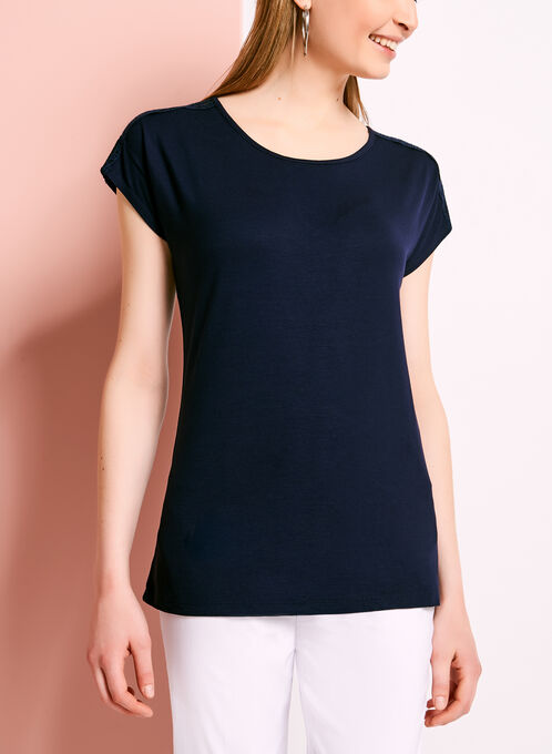 Embroidered Mesh Trim Top, Blue, hi-res