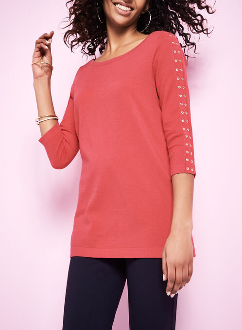 Stud Trim Knit Sweaters, Red, hi-res