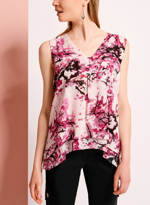Shark Bite Hem Floral Print Top, Red, hi-res