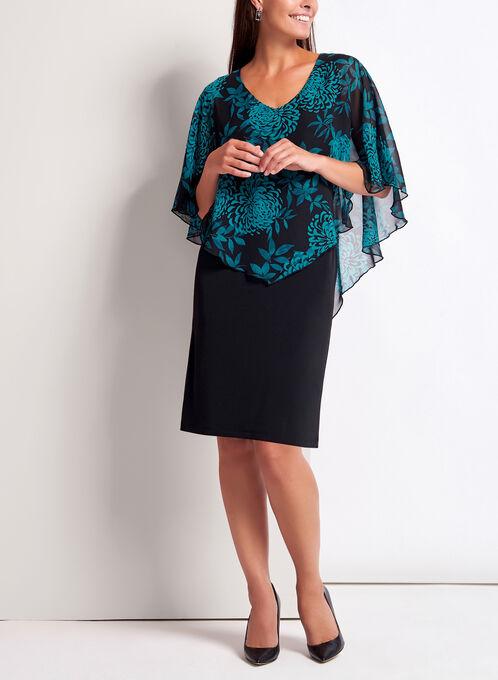 Peony Print Poncho Dress, Black, hi-res