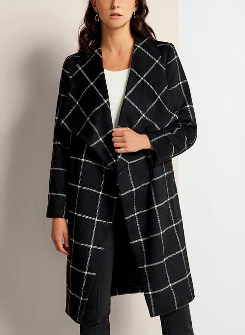 Square Print Open Front Coat, Black, hi-res