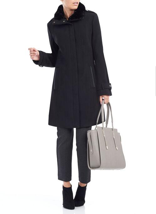 Wool-Like Faux Fur Coat , Black, hi-res