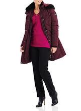 Novelti Faux Fur Down Coat , Red, hi-res