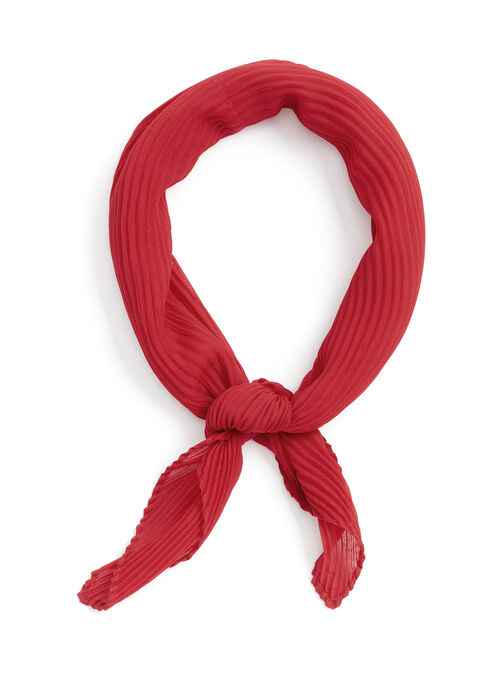 Solid Pleated Neckerchief, Red, hi-res