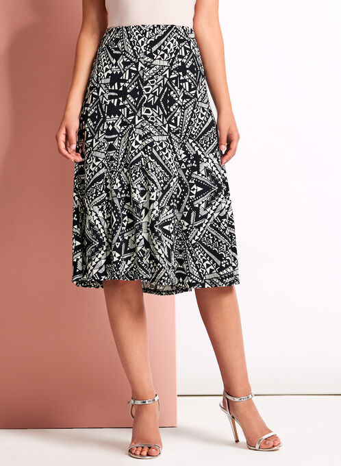 Aztec Print Midi Skirt, Black, hi-res