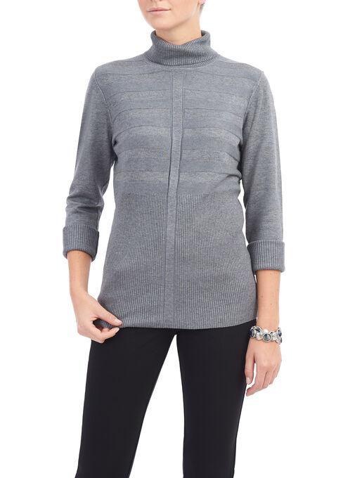 Ribbed Turtleneck Sweater, Grey, hi-res