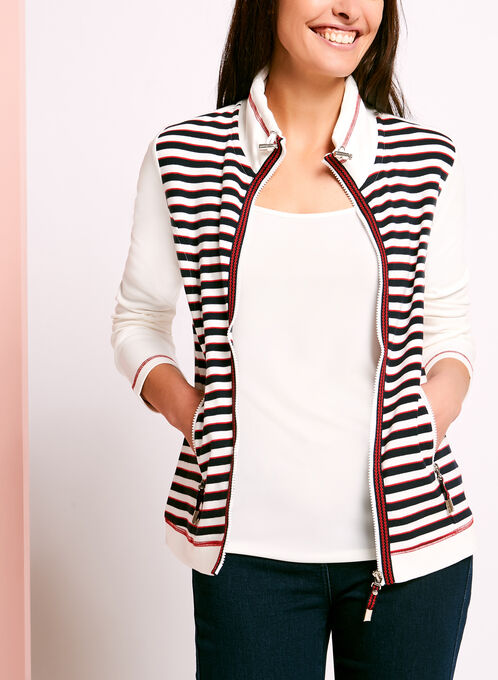 Zip Front Stripe Print Sweater, White, hi-res