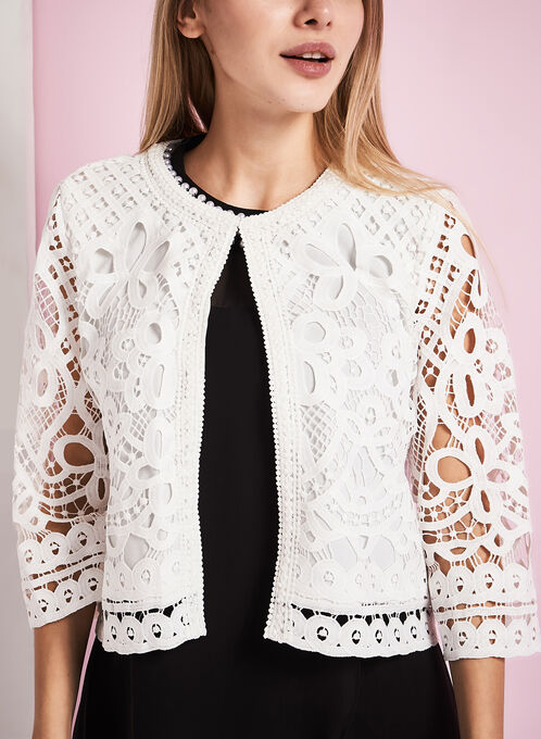 Solid Lace Jacket, White, hi-res