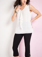 Ruffle Front Chiffon Blouse , Off White, hi-res