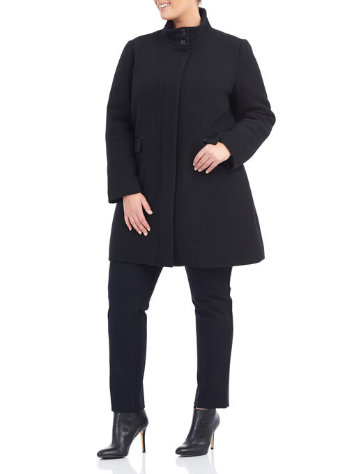 Novelti Faux Leather & Wool Coat, Black, hi-res