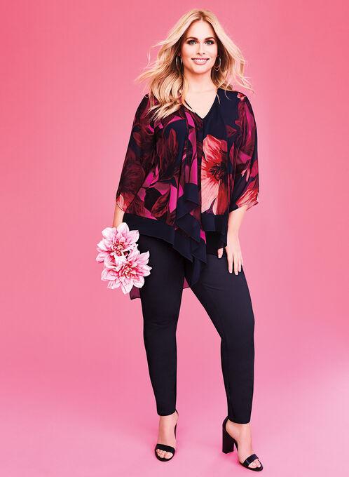 Blouse asymétrique drapée à fleurs , Noir, hi-res