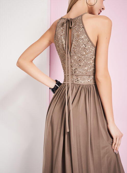 Glitter Lace Keyhole Dress, Brown, hi-res