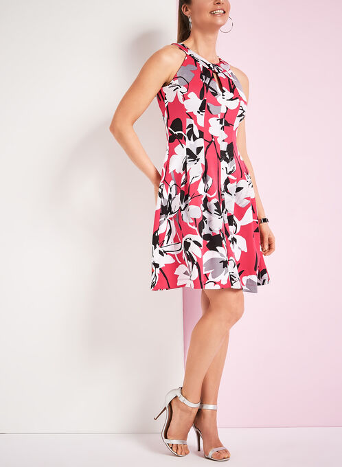 Floral Print Scuba Fit & Flare Dress, Red, hi-res