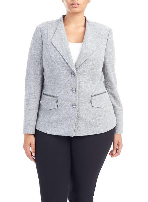 Zipper Trim Button Down Blazer, Grey, hi-res