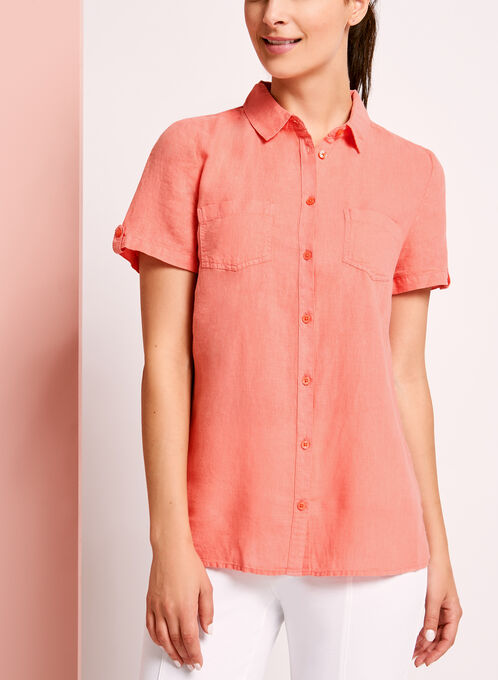 Short Sleeve Linen Button Down Shirt, Orange, hi-res