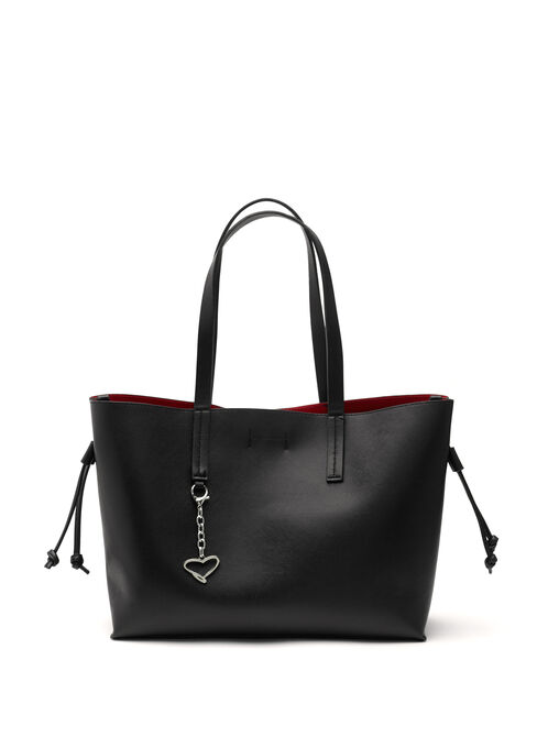 Faux Leather Contrast Tote Bag, Black, hi-res