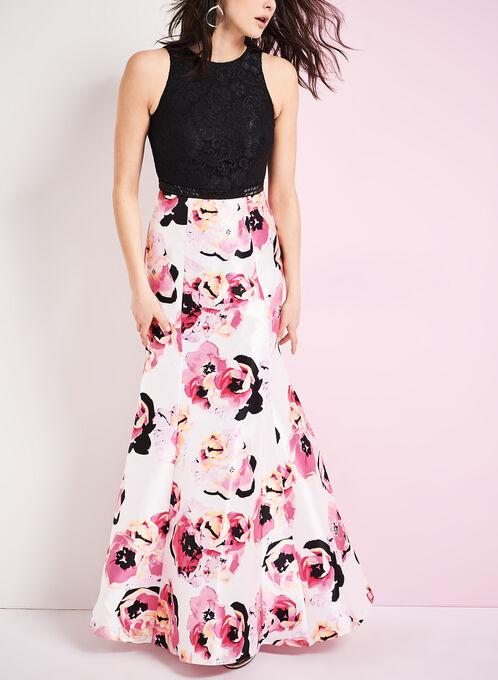 Robe sirène dentelle et motif floral, Noir, hi-res