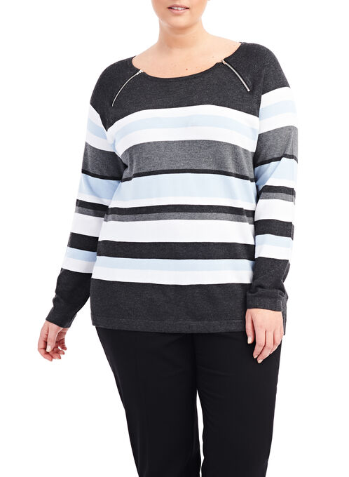 Variegated Stripe Sweater, Grey, hi-res