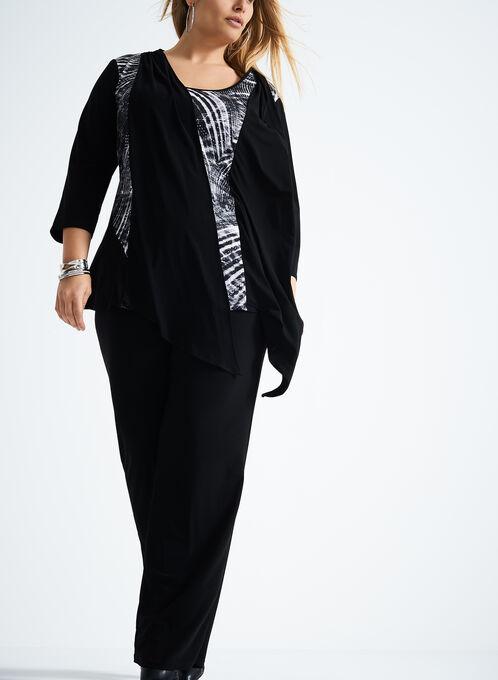 3/4 Sleeve Abstract Print Pantsuit, Black, hi-res