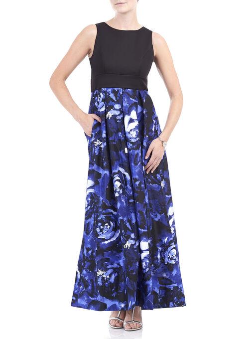 Sleeveless Floral Print Scuba Gown , Black, hi-res