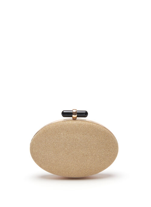 Oval Metallic Clutch, Gold, hi-res
