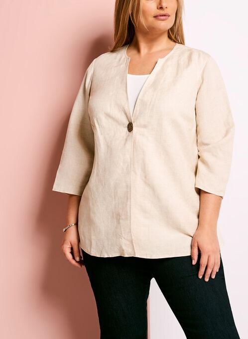 Single Button Linen Blend Jacket, Grey, hi-res