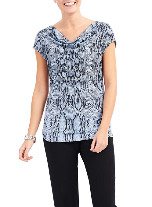 Draped Snake Print Top, Blue, hi-res