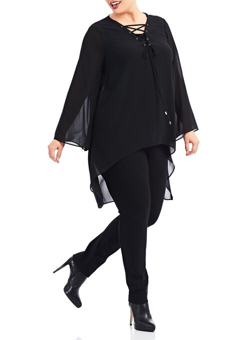 Crêpe de Chine Asymmetrical Blouse, Black, hi-res