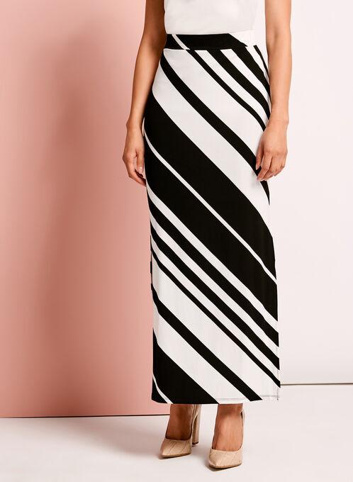 Graphic Stripe Print Maxi Skirt, White, hi-res